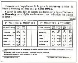 4 ychoux moustey horaires d ouverture de la ligne 13 aout 1905