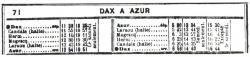 6 dax azur horaires octobre 1917