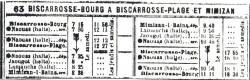 Mimizan Biscarrosse horaires octobre 1917