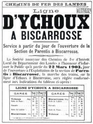 Ychoux biscarrosse horaires d ouverture de la ligne 22 mars 1903